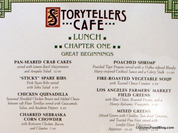 Review storytellers cafe at disneyland s grand for French canape menu