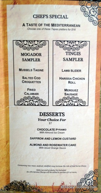 Sampler and Dessert Menu -- Click to Enlarge