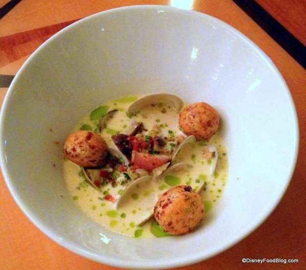 New England Clam Chowder Served with Bacon and Chive Biscuits