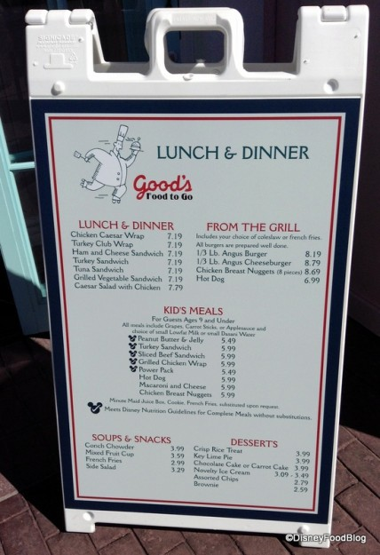 Temporary Menu for Good's To Go