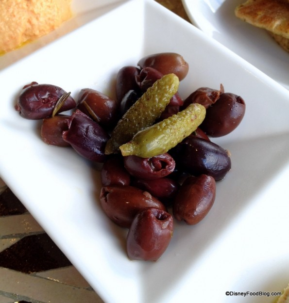 Olives and Cornichons at Spice Road Table