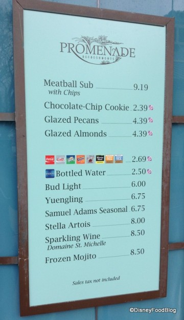 Promenade Refreshments Menu