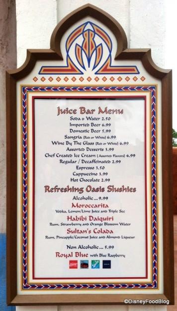 Juice Bar Menu at Spice Road Table