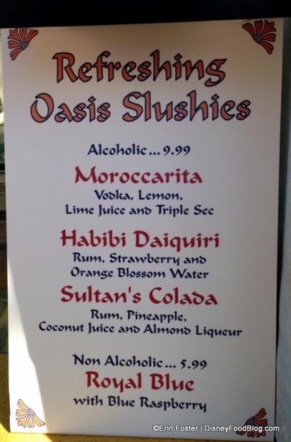 Spice Road Table Juice Bar Slush Menu