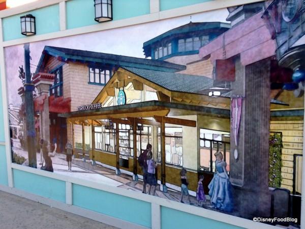 Artwork on construction walls for Starbucks