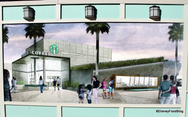Artwork on construction walls for West Side Starbucks