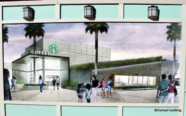 Artwork on construction walls for West Side Starbucks