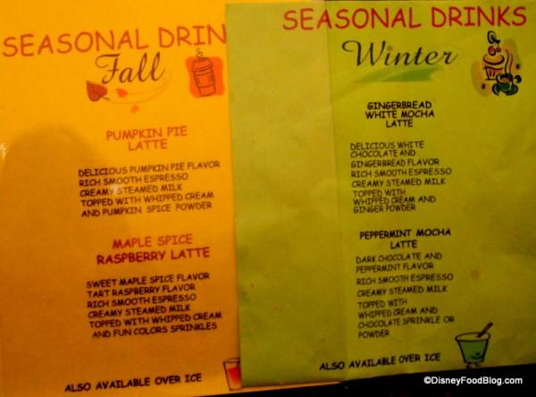 Watch for seasonal drinks