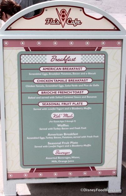 Breakfast Menu -- Up Close