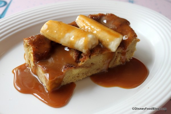 Brioche French Toast with  Salted Caramel Sauce and Bananas