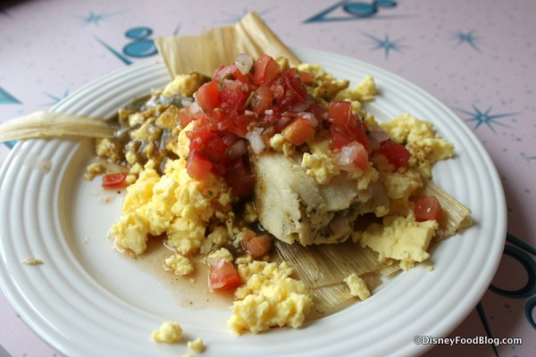 Chicken Tamale Breakfast with Scrambled Eggs and Salsa Verde