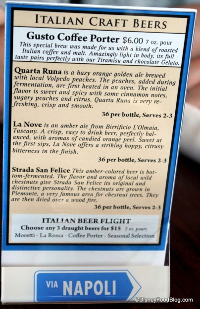 List of Craft Beers -- Click to Enlarge