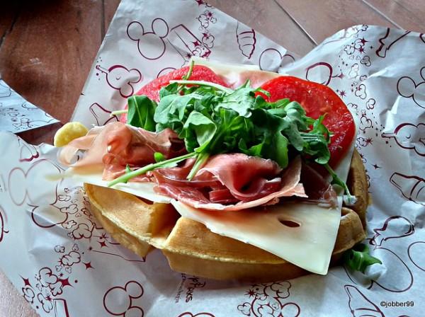 Prosciutto, Ham, and Swiss Waffle Sandwich from Sleepy Hollow Refreshments in Magic Kingdom