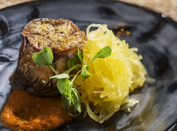 """Land-grown Eggplant """"Scallop"""" with Romesco Sauce and Spaghetti Squash from the Urban  Farm Eats Outdoor Kitchen"""