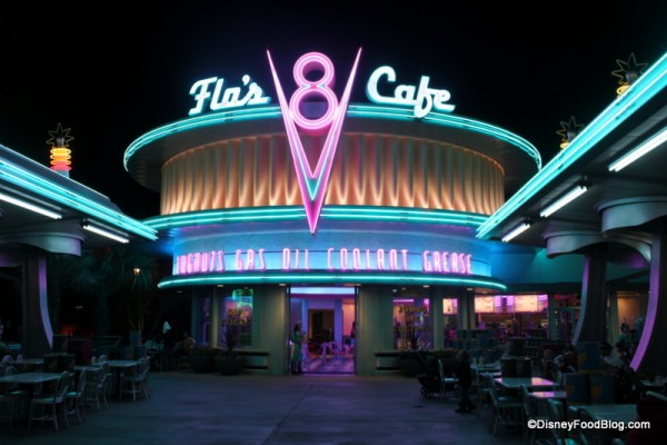 Flo's V-8 Cafe at night