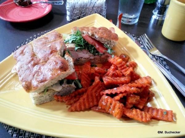 Chicken Focaccia sandwich with sweet potato fries