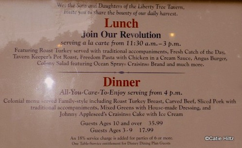 The Menu on display outside the restaurant