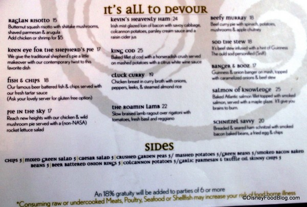 Lunch Menu -- Entrees and Sides -- Click to Enlarge