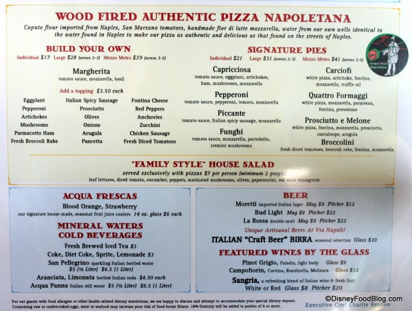 Menu -- Pizzas and Beverages -- Click to Enlarge