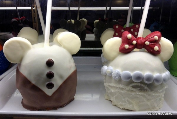Groom and Bride Candy Apples close up