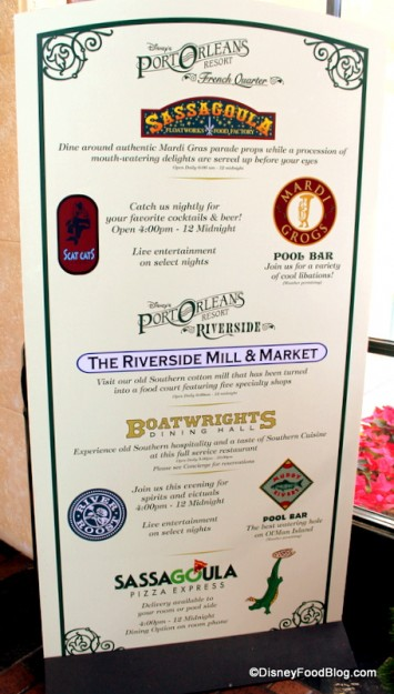 Dining Choices at the Port Orleans Resorts