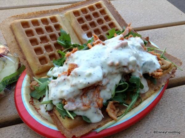 Pulled Buffalo Chicken Waffle Sandwich