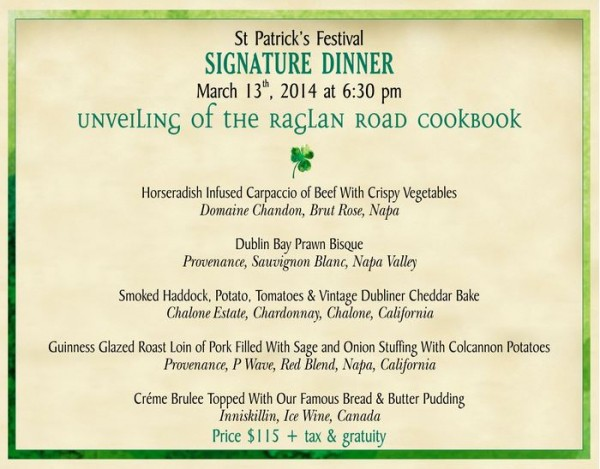 Raglan Road Signature Dinner Information -- Click to Enlarge