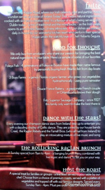Restaurant Information on the Back of the Menu