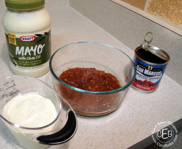 Mix mayo with pureed peppers