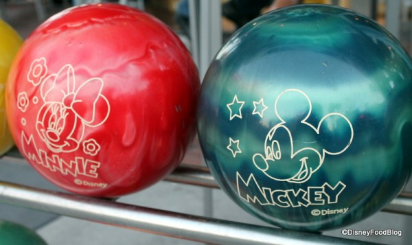 Mickey and Minnie Bowling Balls at Splitsville