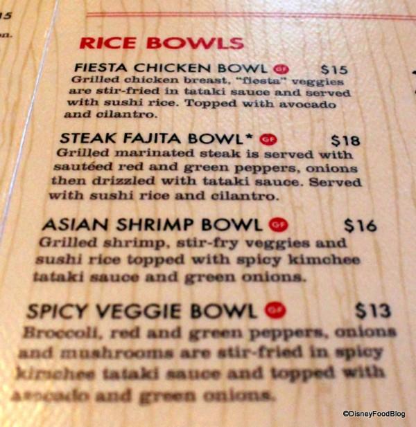 Splitsville Rice Bowl Menu