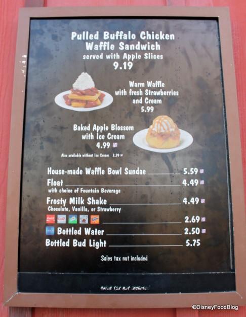 Trilo-Bites Menu with Pulled Buffalo Chicken Waffle Sandwich