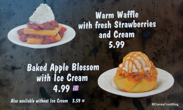 Waffle with Strawberries and Baked Apple Blossom