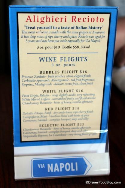 Wine Flight Information -- Click to Enlarge