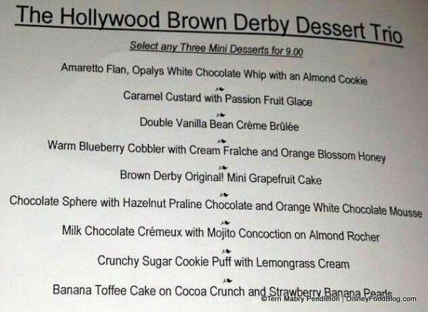 Brown Derby Dessert Trio Menu Choices
