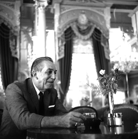 Walt Disney enjoying a cup of coffee at Plaza Inn in 1966