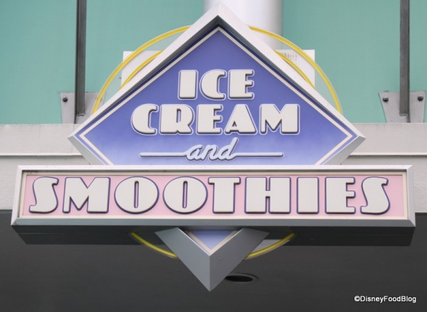 Ice Cream and Smoothies sign