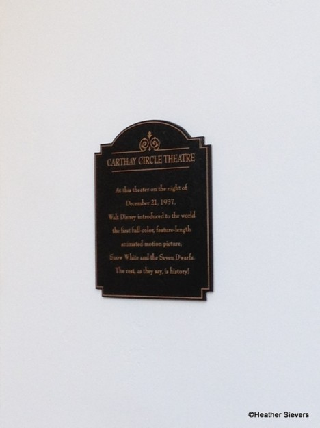 Plaque Commemorating the Historic Premiere of Snow White and the Seven Dwarfs at Carthay Circle Theatre