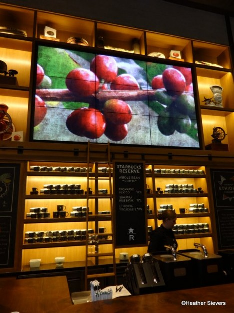"""9 Panel LCD Screen Featuring """"Water Color"""" Images of Coffee Resources"""