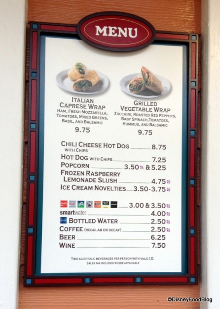Marketplace Snacks Menu