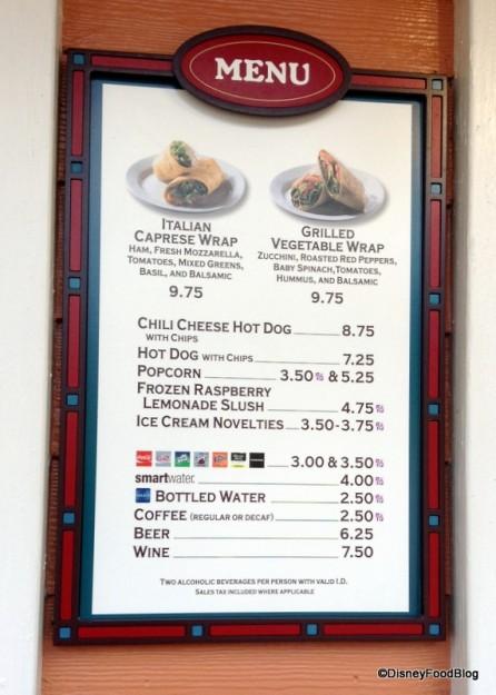 Marketplace Snacks Menu