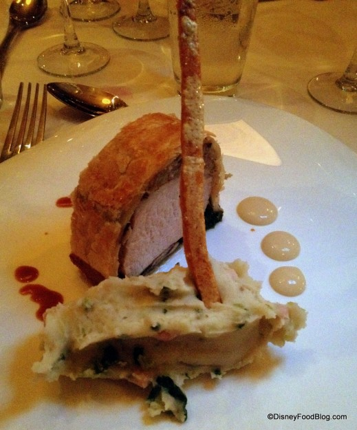 Guinness Glazed Roast Loin of Pork Filled with Sage and Onion Stuffing with Colcannon Potatoes -- Up Close