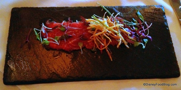 Horseradish Infused Carpaccio of Beef with Crispy Vegetables