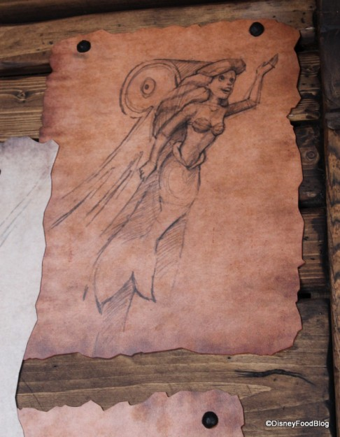 Sketch of the Little Mermaid, echoing the attraction
