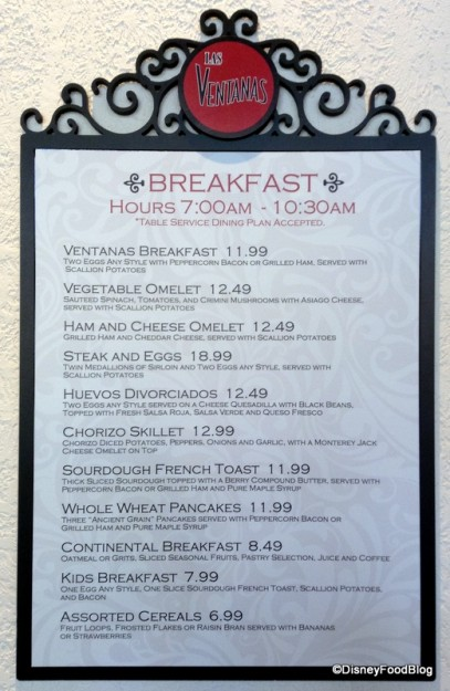 Breakfast Menu -- click to enlarge