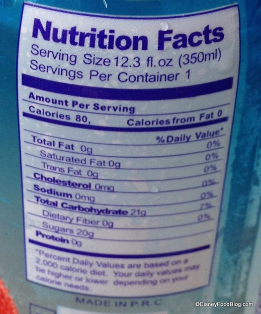 Lychee aerated water - nutrition facts