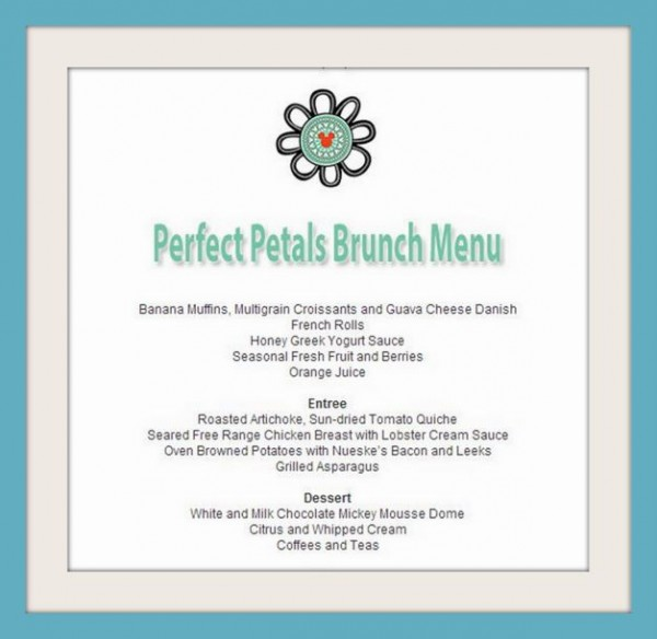 Perfect Petals Brunch Menu -- Click to Enlarge