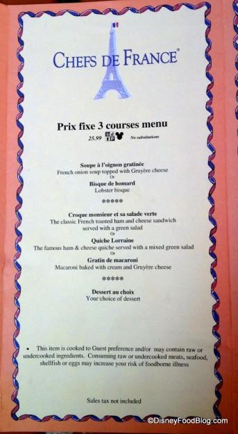 Prix-Fixe Menu at Les Chefs de France -- Click to Enlarge