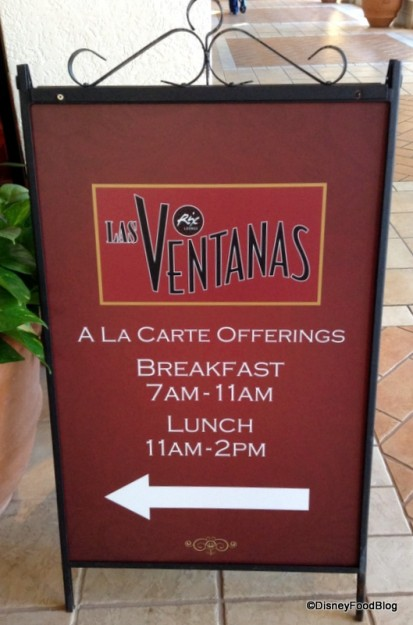 Las Ventanas sign with operating hours