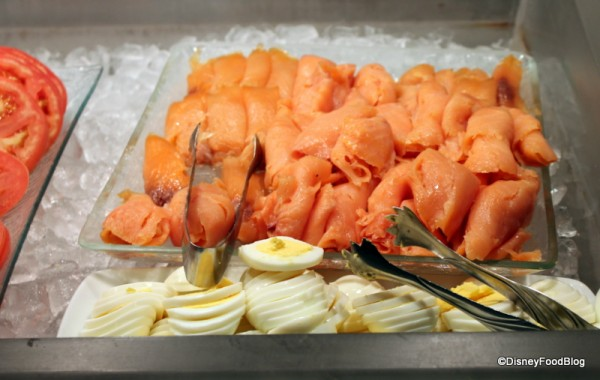 Salmon and hard-boiled eggs